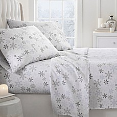 image of 2000-Thread-Count Snowflake Print Flannel Sheet Set