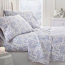 image of 2000-Thread-Count Paisley Print Flannel Sheet Set