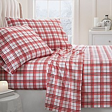 image of Christmas Plaid 2000-Thread-Count Deep-Pocket Flannel Sheet Set