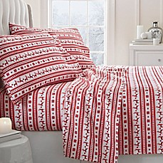 image of Reindeer 2000-Thread-Count Deep-Pocket Flannel Sheet Set
