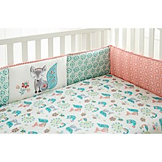 image of Levtex Baby® Fiona 4-Piece Crib Bumper Set in Coral/Aqua