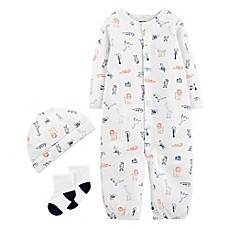 image of carter's® 3-Piece Animals Coverall, Hat, and Sock Set in White