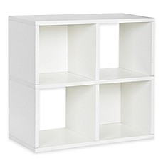 image of Way Basics Tool-Free Assembly 4-Cubby Quad Bookcase and Storage Shelf in White