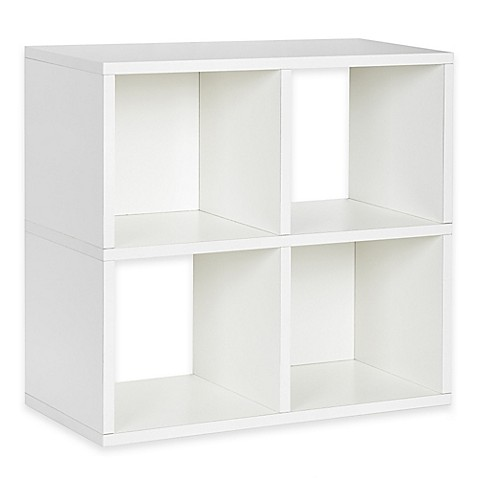 Way Basics Tool-Free Assembly zBoard paperboard 4-Cubby Bookcase and Storage Shelf in White