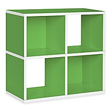 image of Way Basics Tool-Free Assembly zBoard paperboard 4-Cubby Bookcase and Storage Shelf in Green