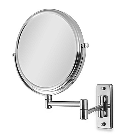 Wall Mounted Shaving Mirror zadro™ swivel wall mount 5x/1x magnification mirror in satin