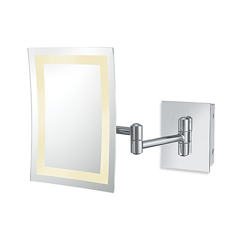 Kimball & Young Single-Sided 3X LED Rectangular Wall Mirror with Chrome Finish