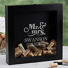 image of The Happy Couple Wine Cork Shadow Box