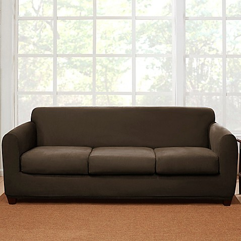 Charmant Sure Fitu0026reg; 4 Piece Stretch Suede Sofa Slipcover