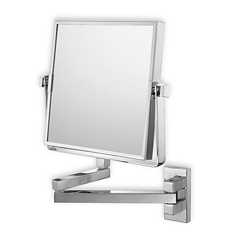 Mirror image square double arm 3x 1x wall mirror with brushed nickel finish bed bath beyond for Bathroom mirrors brushed nickel