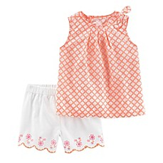 image of carter's® 2-Piece Poplin Top and Scallop Short Set in Orange/White
