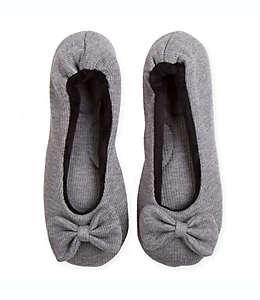 Pantuflas medianas para mujer Therapedic® con moño en gris