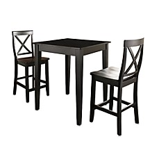 image of Crosley Pub Dining Set with X-Back Stools and Tapered Legs (3-Piece Set)