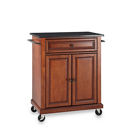 Crosley Black Granite Top Rolling Portable Kitchen Cart Island Bed Bath Beyond