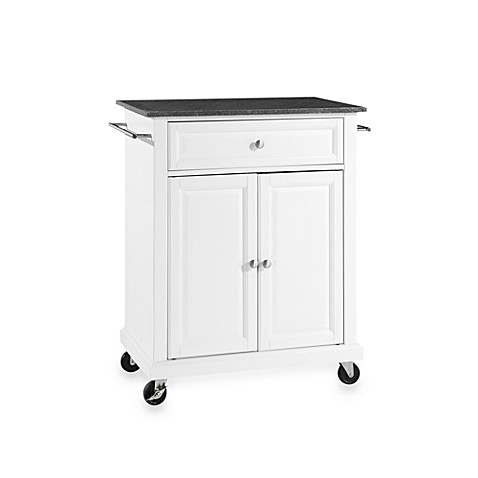 Buy Crosley Black Granite Top Rolling Portable Kitchen Cart Island In White From Bed Bath Beyond