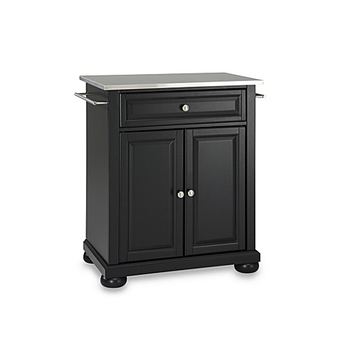 Buy Crosley Alexandria Stainless Steel Top Portable Kitchen Island In Black From Bed Bath Amp Beyond