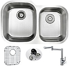 Anzzi KAZ3220 102 32 Inch Undermount Double Bowl Kitchen Sink With Faucet  In Satin