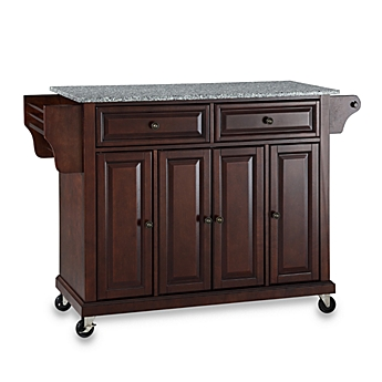 image of crosley rolling kitchen cart island with solid granite top