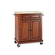 image of crosley natural wood top portable rolling kitchen cartisland