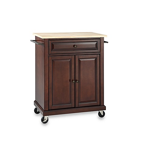 Buy Crosley Natural Wood Top Portable Kitchen Rolling Cart Island In Mahogany From Bed Bath Beyond
