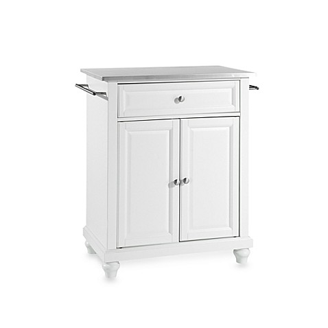 Crosley Cambridge Stainless Steel Top Portable Kitchen Island in White