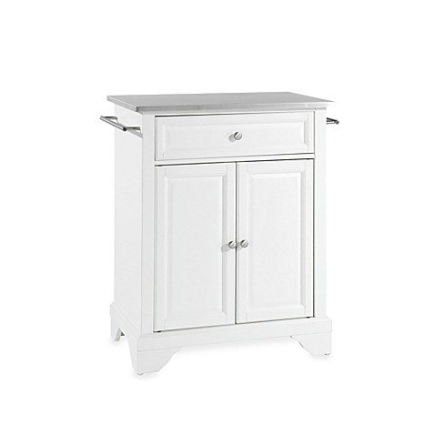 white kitchen island with stainless steel top buy crosley lafayette stainless steel top portable kitchen 2219