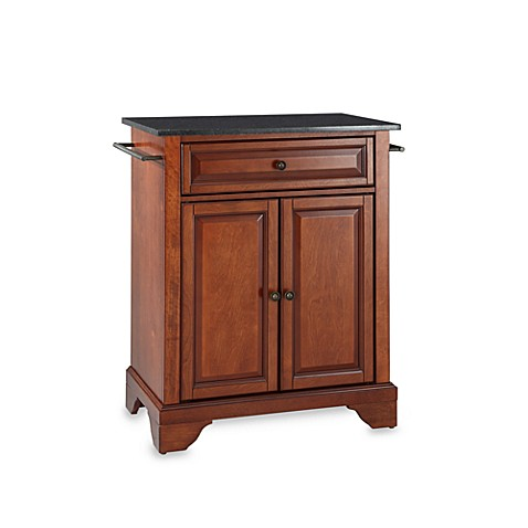 Crosley lafayette black granite top portable kitchen for Black kitchen island with granite top