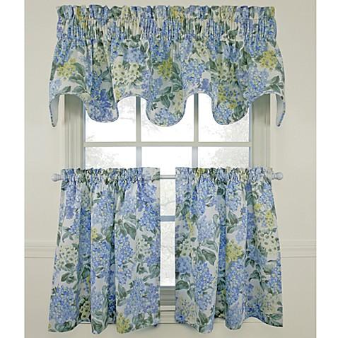 Kitchen Curtains bed bath beyond kitchen curtains : Hydrangea Blue Window Curtain Tiers, 100% Cotton - Bed Bath & Beyond
