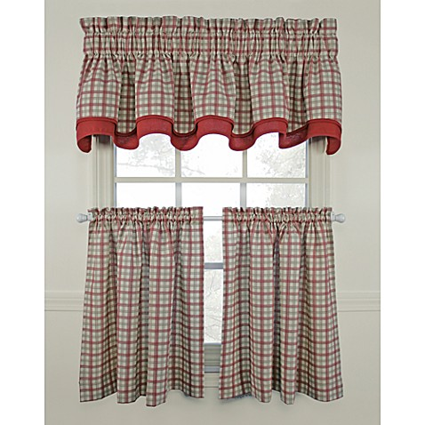 Bristol Plaid Window Curtain Tiers Red 100 Cotton