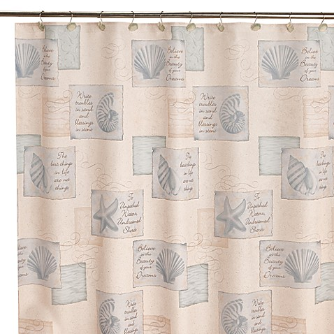 Inspirational Shores 70-Inch x 70-Inch Shower Curtain