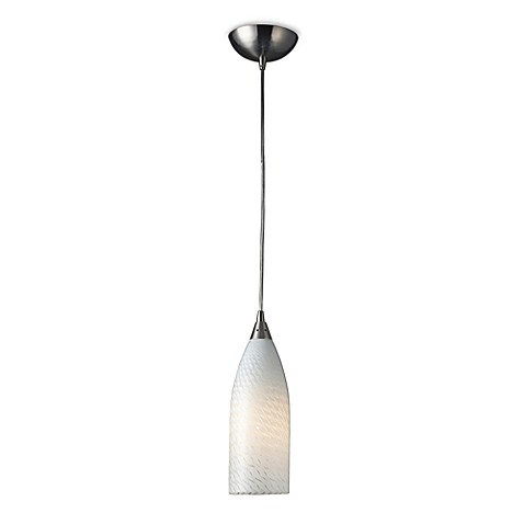 ELK Lighting Cilindro 1-Light Pendant In Satin Nickel With White Swirl Glass