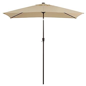 11 Foot Rectangular Aluminum Solar Patio Umbrella
