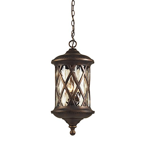 ELK Lighting Barrington Gate 3-Light Outdoor Pendant Hazlenut Bronze Designer and Water Glass