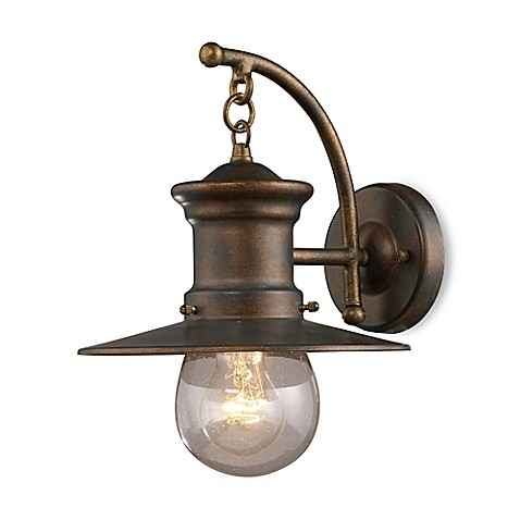 ELK Lighting Maritime 1-Light 12-Inch Wall Bracket In Hazelnut Bronze And Clear Seeded Glass
