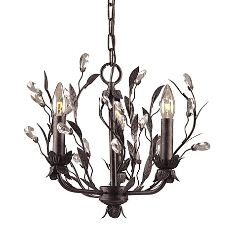 ELK Lighting Circeo 3-Light Chandelier In Deep Rust And Crystal Droplets