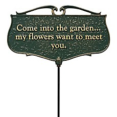 "image of Whitehall Products ""Come into the Garden"" Outdoor Garden Poem Sign in Green/Gold"
