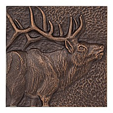 image of Whitehall Products Elk 8-Inch Square Aluminum Wall Art in Copper