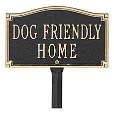 "image of Whitehall Products ""Dog Friendly"" Garden Sign in Black/Gold"