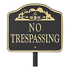 "image of Whitehall Products ""No Trespassing"" Outdoor Garden Sign in Black/Gold"
