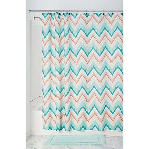 InterDesignreg Ikat Chevron Shower Curtain In Coral Teal