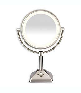 Espejo con luz variable 1X/10X Conair®, en níquel satinado