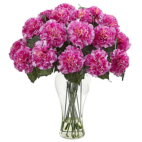 Nearly Natural 18 Inch Blooming Carnation Artificial Arrangement