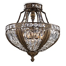 image of ELK Lighting Millwood 6-Light Semi-Flush Ceiling Light in Antique Bronze with Crystal Shade