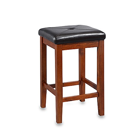 Crosley Upholstered 24-Inch Square-Seat Bar Stools in Classic Cherry (Set of 2)