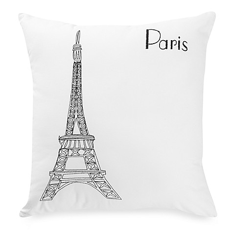 martini pillow passport postcard paris square throw pillow in blackwhite bed