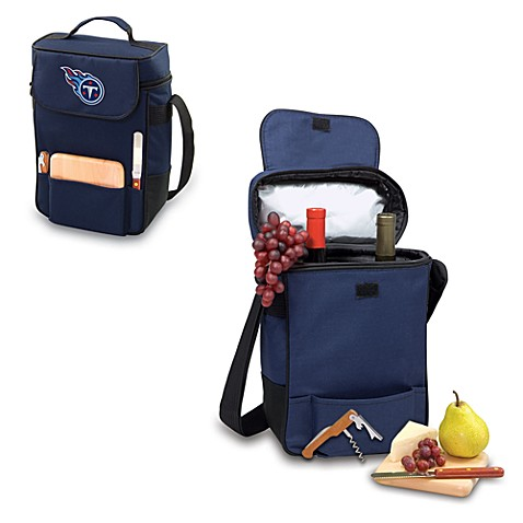 Picnic Time® Tennessee Titans Duet Insulated 2-Bottle Wine and Cheese Tote in Navy Blue