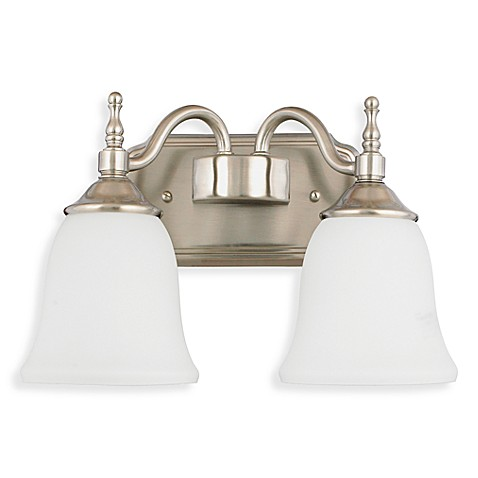 Quoizel Tritan Brushed Nickel Double Light Fixture w/Opal Etched Glass