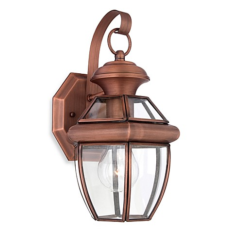 Quoizel newbury small 1 light outdoor fixture with aged copper finish bed bath beyond for Copper bathroom light fixtures