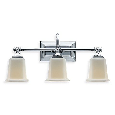 Quoizel®  Nicholas 3-Light Polished Chrome Vanity W/Etched Glass Shades