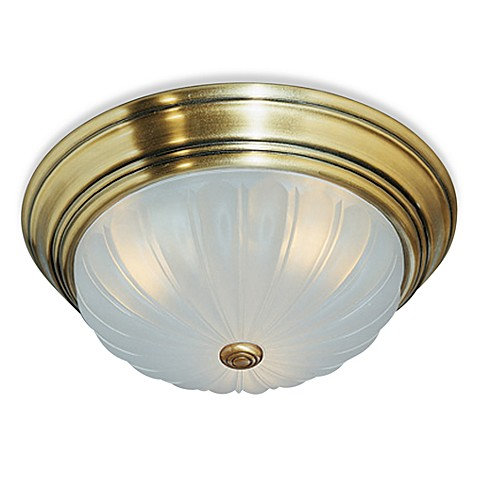 Quoizel® Melon 1-Light Flush Mount in Antique Brass